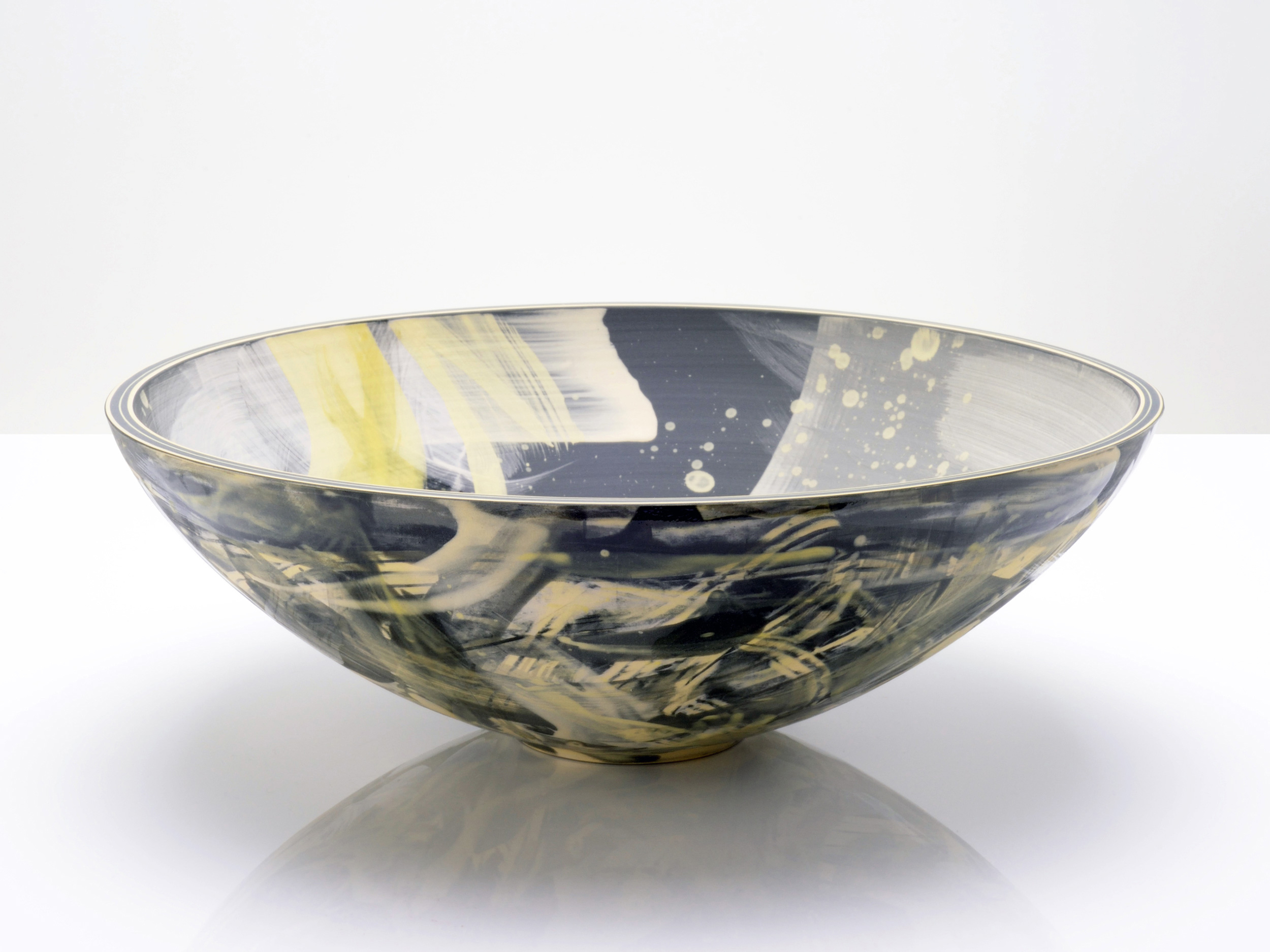 Grey Black Yellow Stars Bowl by Rowena Gilbert