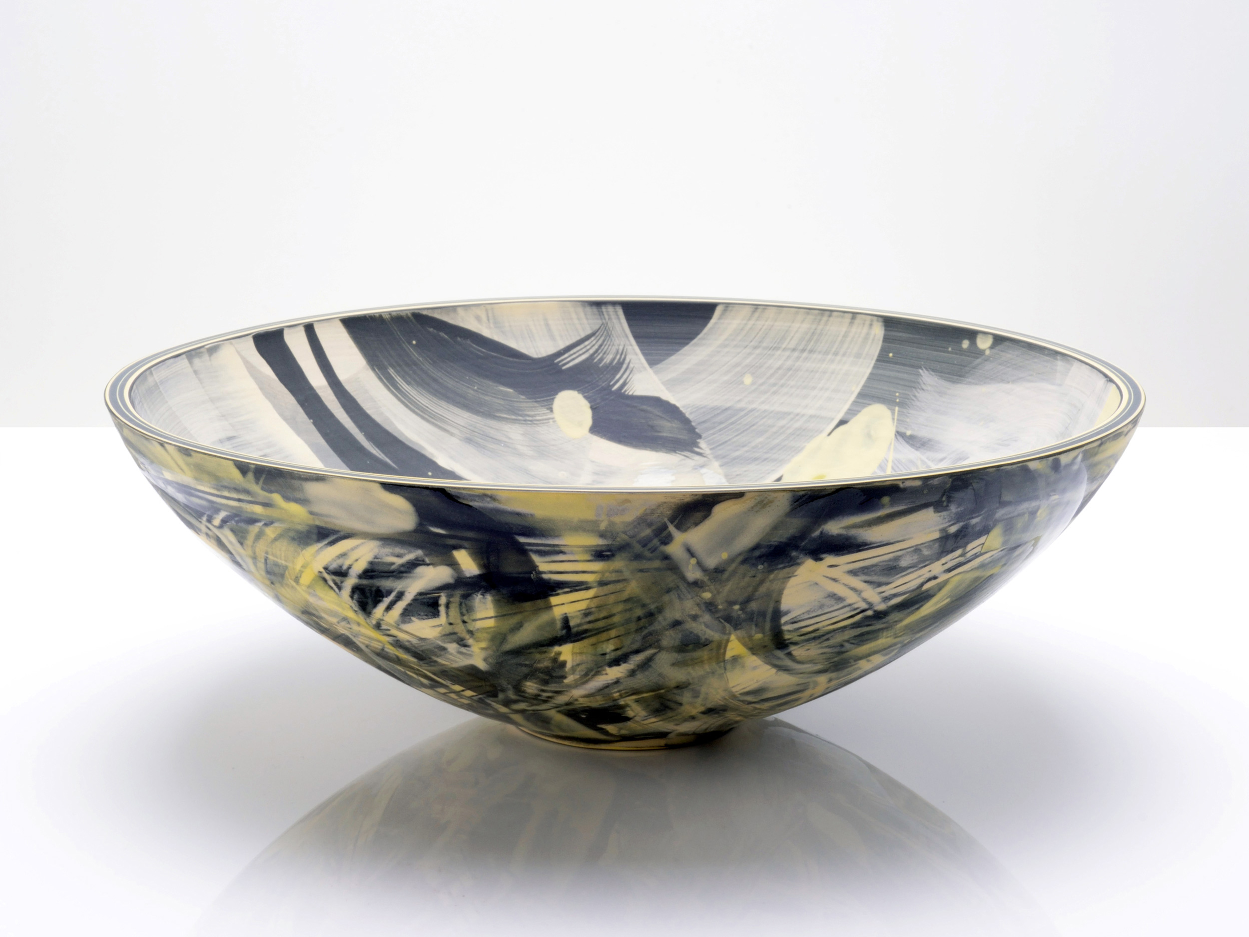 Grey Yellow Galactic Bowl by Rowena Gilbert