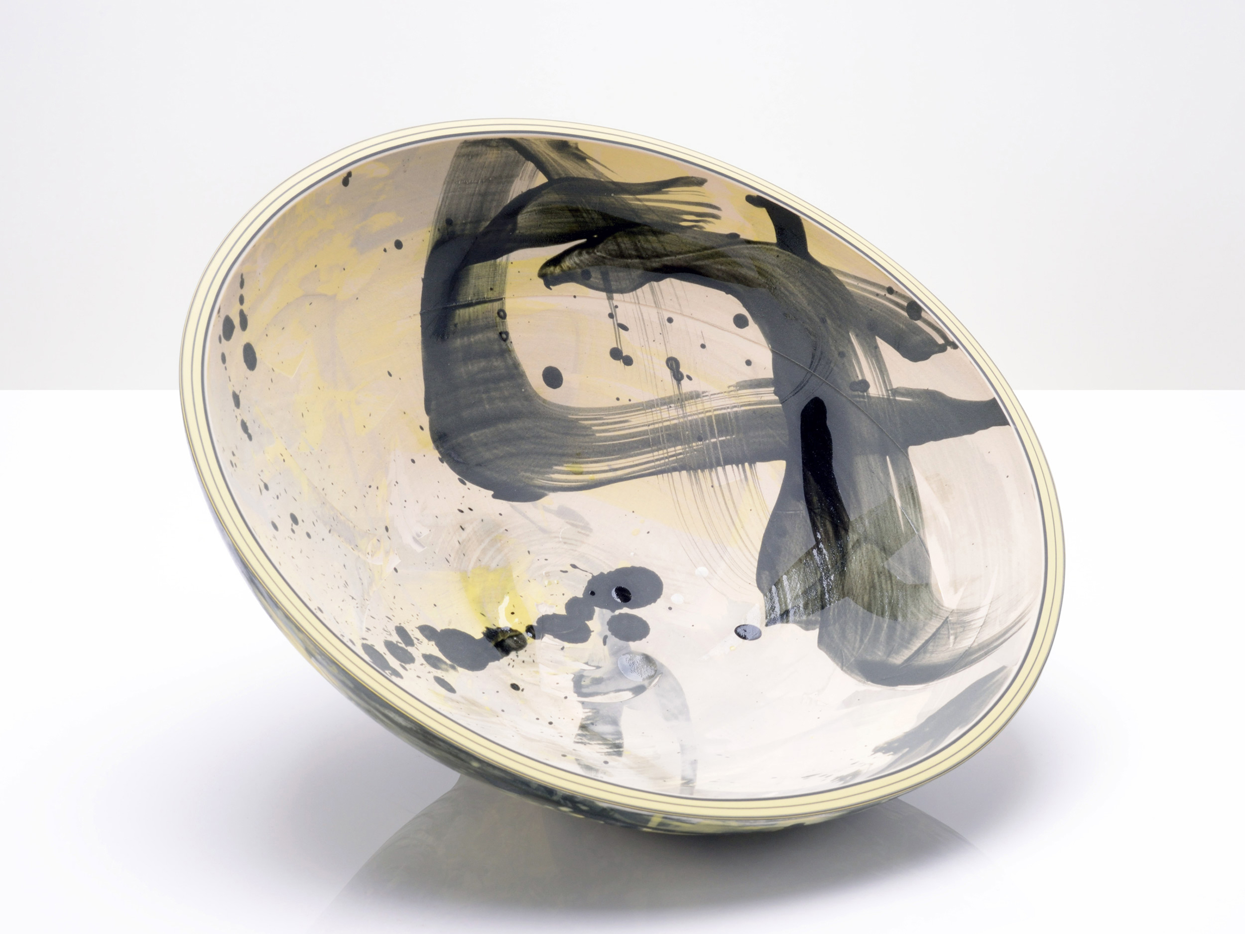 Yellow Grey Star Bowl by Rowena Gilbert
