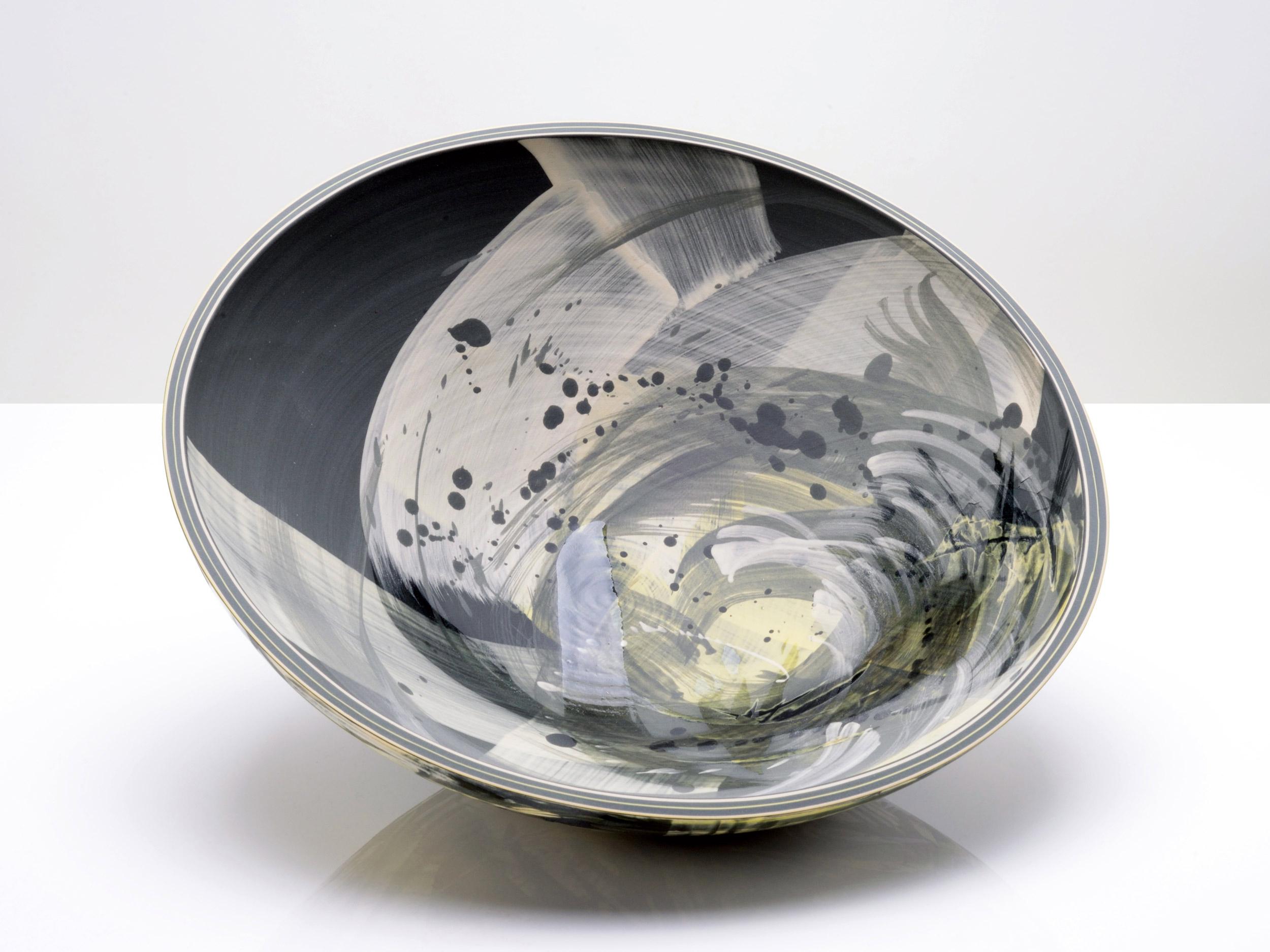Black Hole Art Ceramic Bowl by Rowena Gilbert