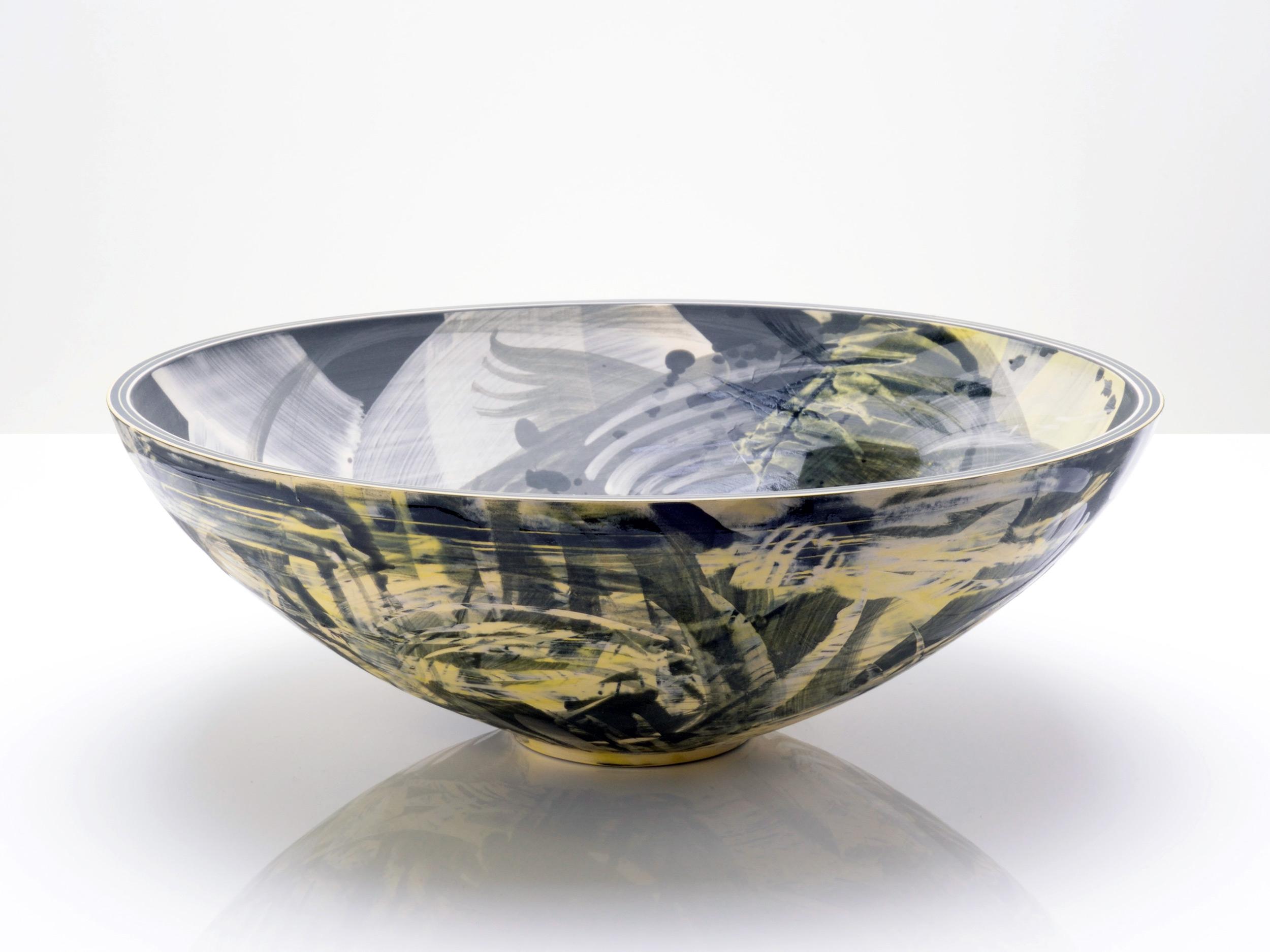 Expressive Yellow Grey Black Ceramic Bowl by Rowena Gilbert