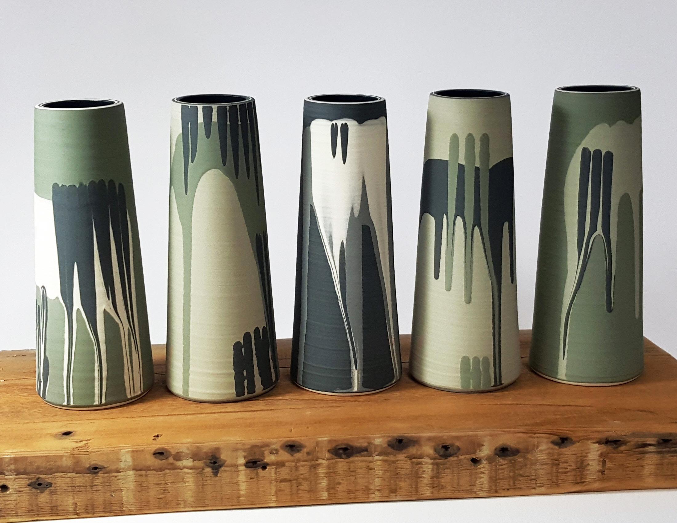"Rowena Gilbert Contemporary Ceramics ""Woodland Wonders"" 2019 Collection Ceramic Stem Vases - 20.5 cm Tall"