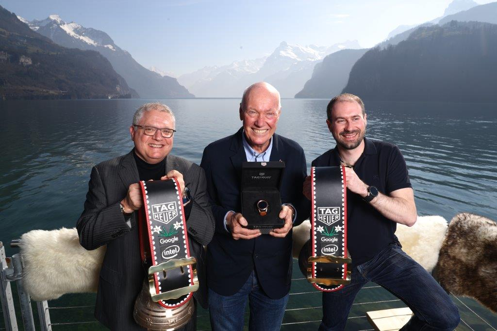 David Singleton at the launch event of the Connected Modular 45 in March 2017 on Lake Lucerne with Josh Walden of Intel and Jean-Claud Biver of TAG Heuer. Photo: TAG Heuer
