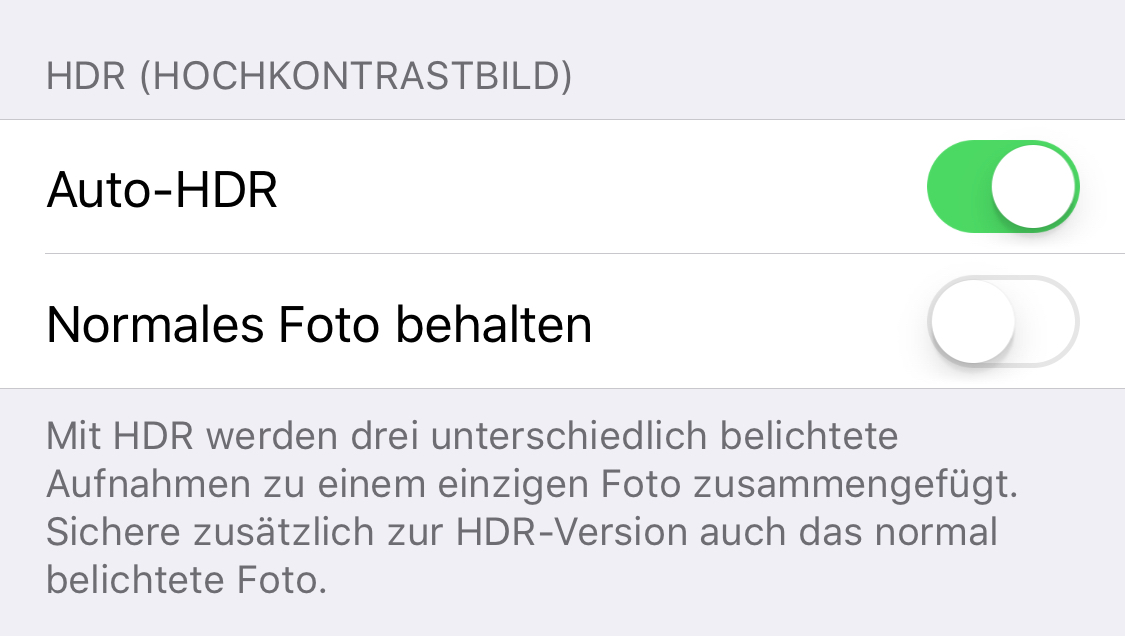 how to deactivate auto-hdr in ios 11