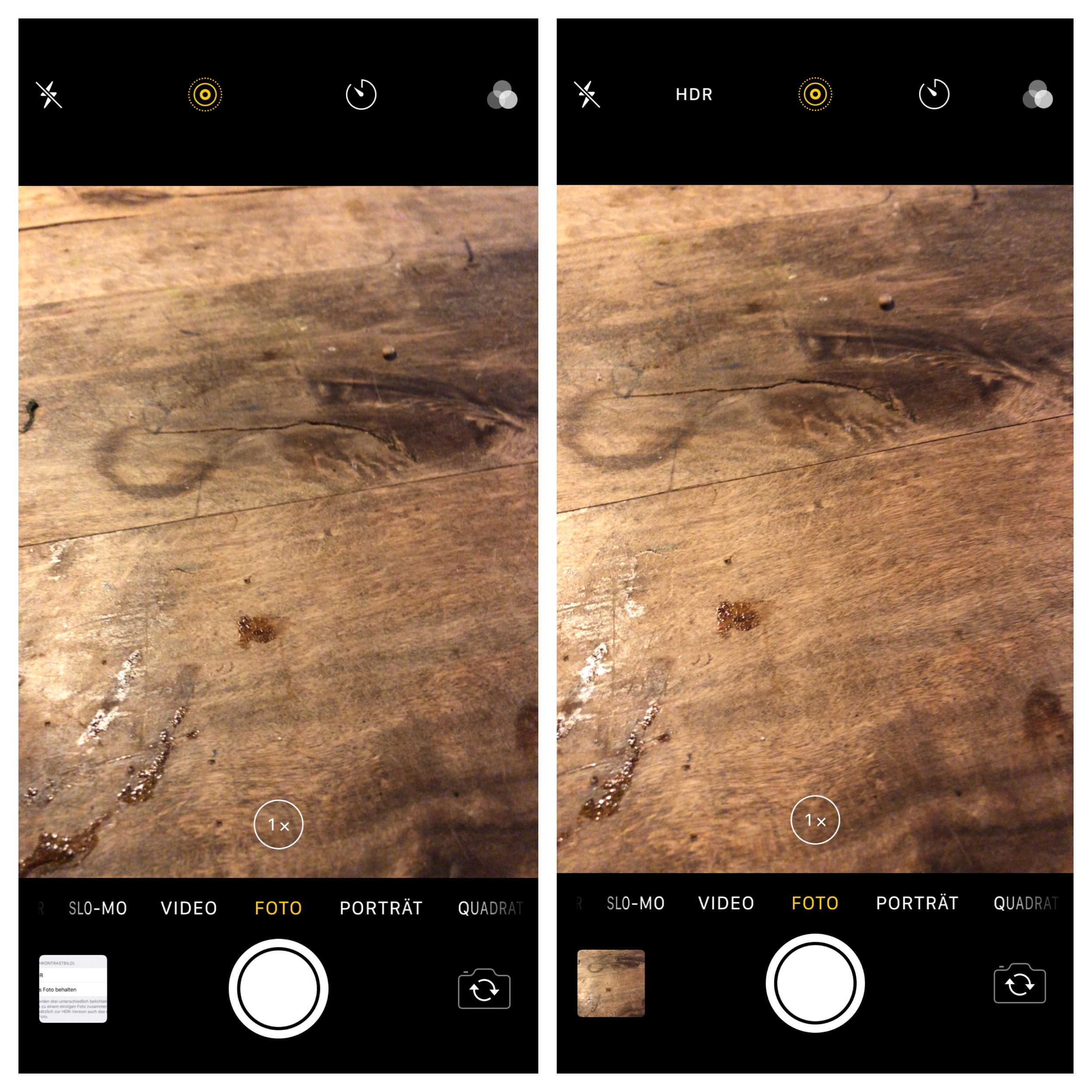 The camera app without the HDR-option (left) and after activating it.
