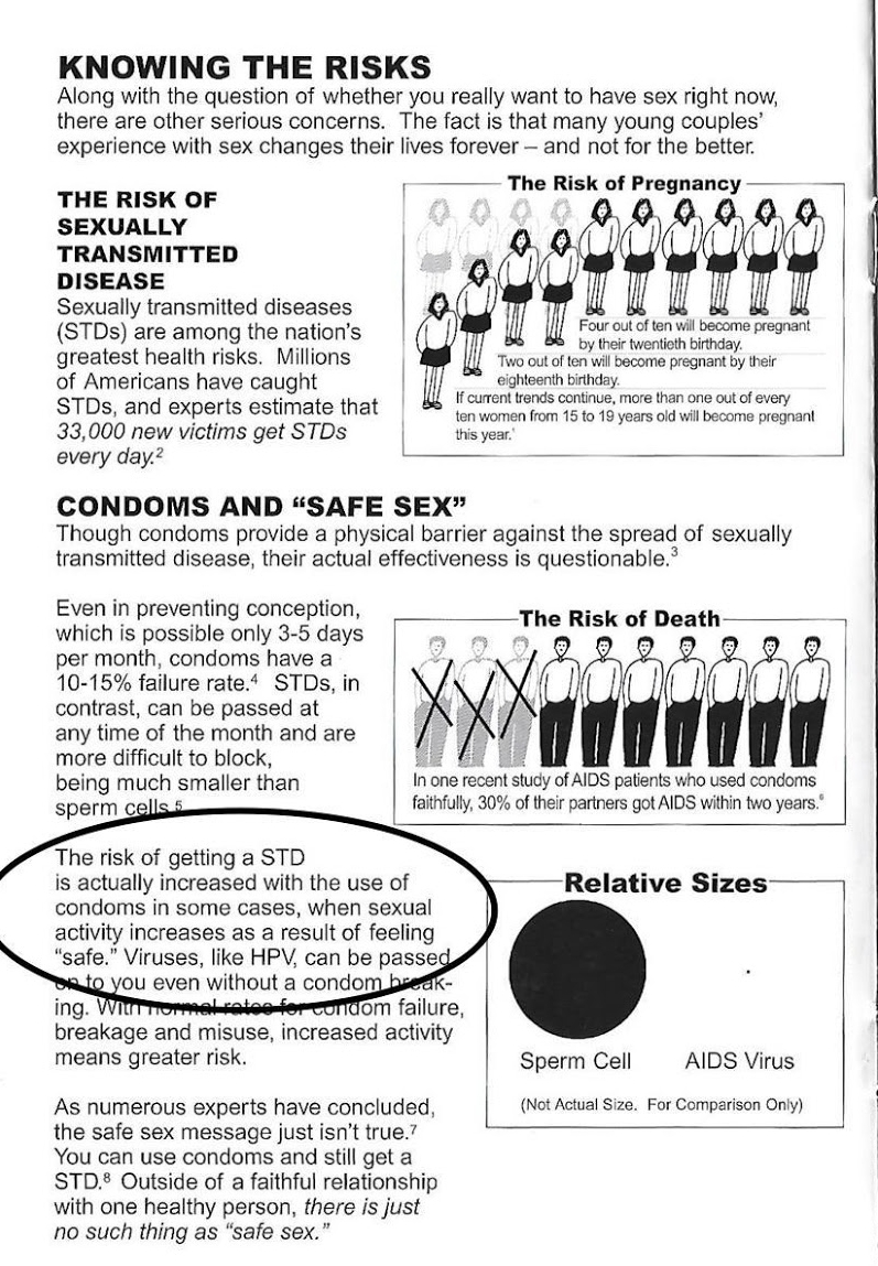Pamphlet with false medical information about STDs and condom use given out by a CPC.