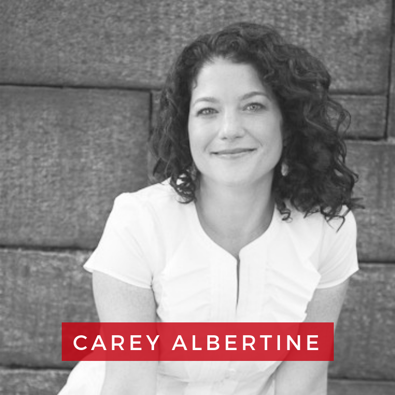 Carey Albertine, Founder + Creative Director of In this Together Media - Carey has worked as an executive recruiter, managed a multi-million dollar P&L for an educational company, and held many positions in television at Lucky Duck Productions, Saturday Night Live, Late Night with Conan O'Brien, and NBC News. She has written and performed stand-up comedy at clubs all over New York City. Carey is a graduate of the University of Virginia and the Tuck School of Business at Dartmouth College.