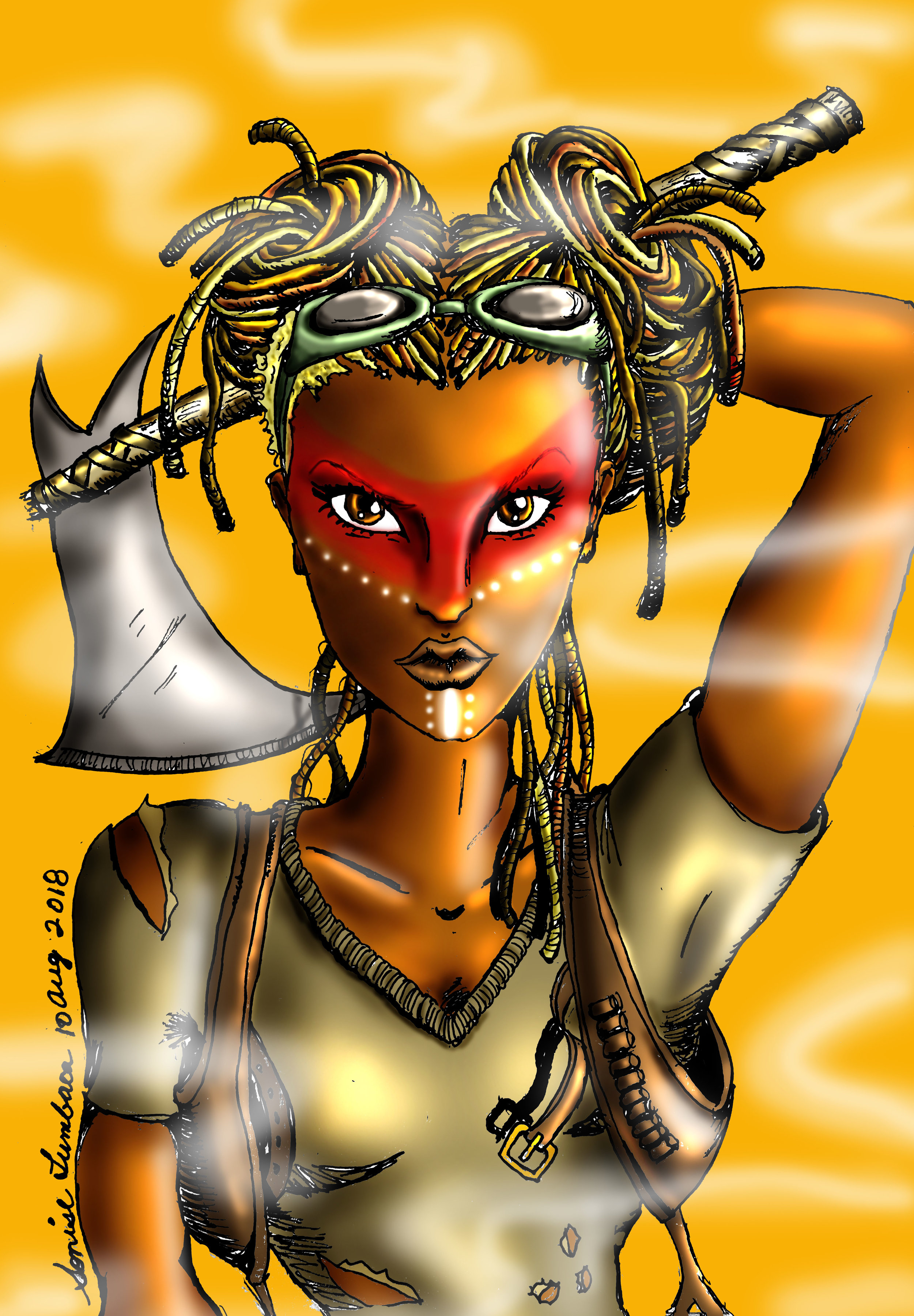 Illustrations of Celine in her various comic forms by Sonise Lumbaca