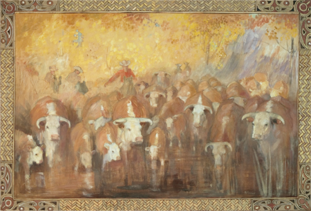 Herding Cattle Across the River , 1956, Mural by Minerva Teichert