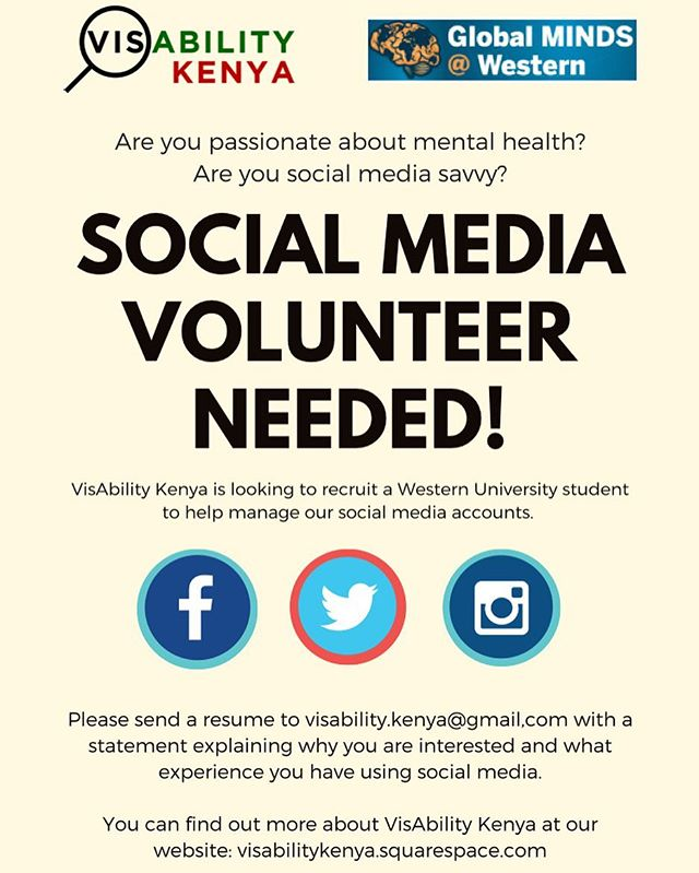 Want to join our team?! We are looking for a @westernuniversity student with a passion for mental health and is social media savvy who is willing to volunteer their time to help manage our social media accounts. This call is open to any and all Western students so if you are interested in helping with our initiative we look forward to hearing from you! See the poster for application details and please spread the word! #GlobalMINDS #volunteer #helpwanted #uwo