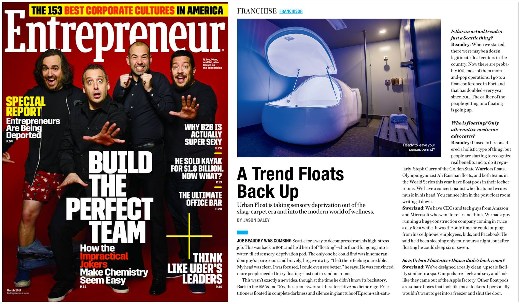 Entrepreneur Magazine - Urban Float Article Feature