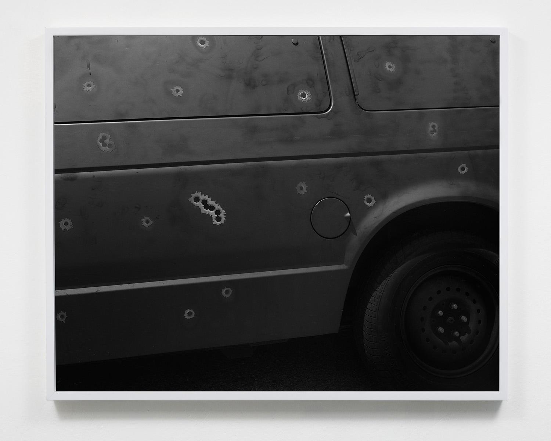 Black Van and Bulletholes , 24 x 30, Gelatin silver print, 2015