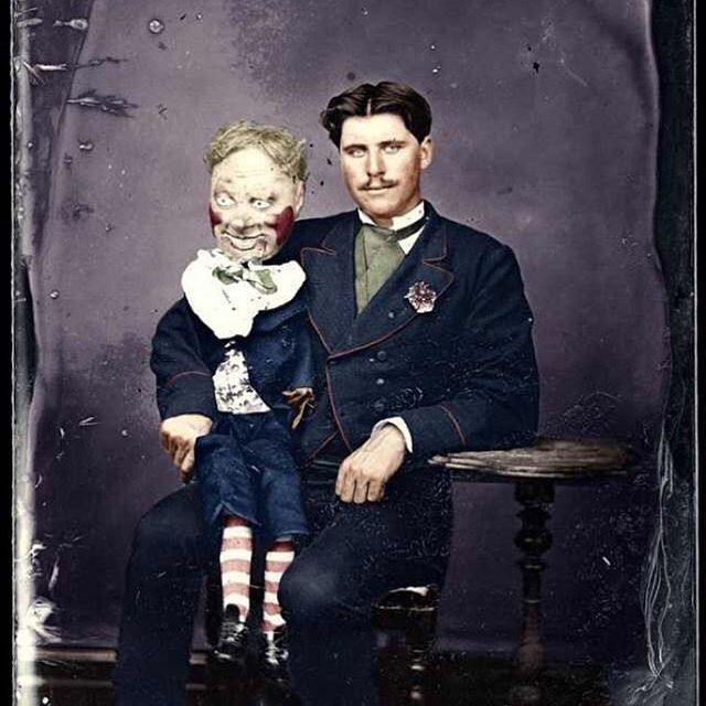 #puppettuesday  on Thursday because I was too scared to post it on Tuesday.  Thanks to @strange41 for posting  this colorized, creepy image from circa 1870  on Twitter.