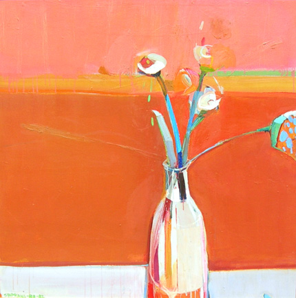 Raimonds Staprans painting lilies - sold