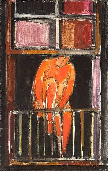 """Manfred Schwartz - oil on canvas 22""""x14"""""""