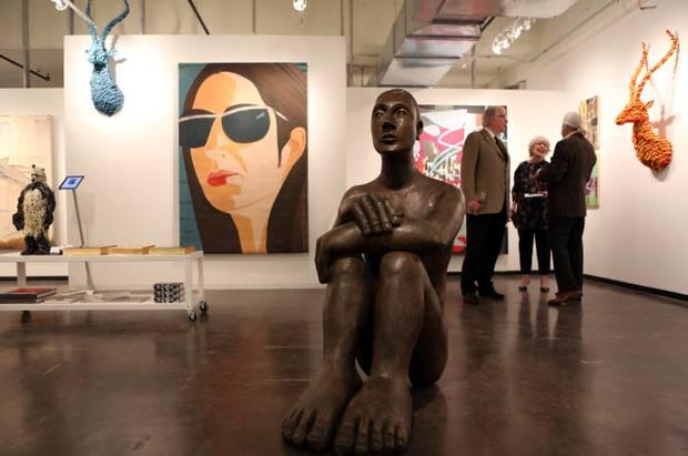 """Mavis McClure's bronze """"Pablo"""" at the Dallas Art Fair"""