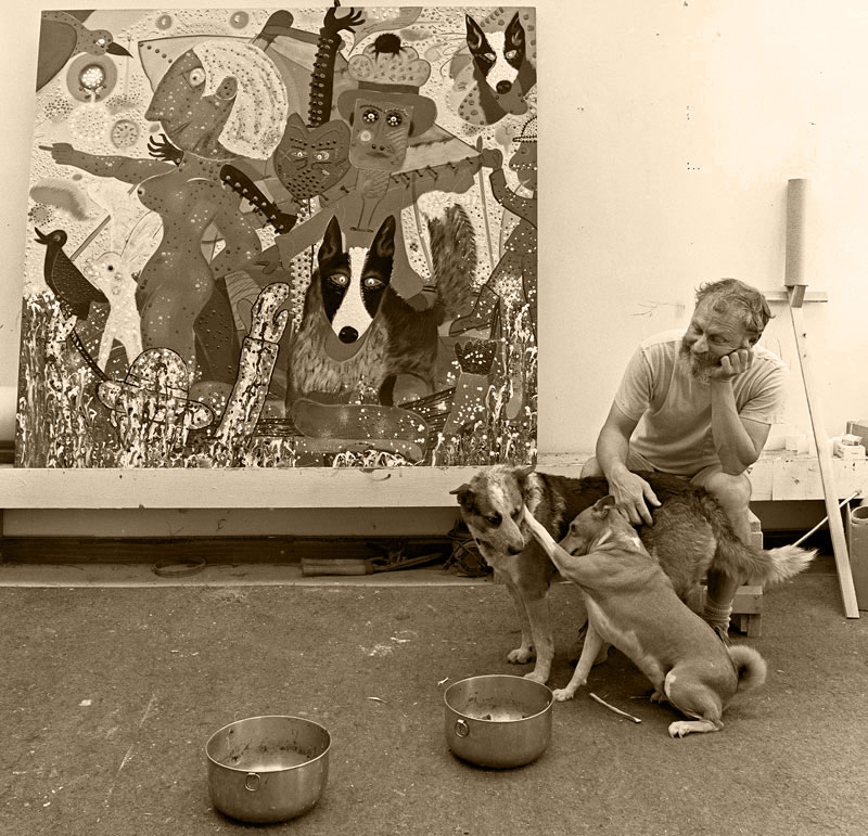 Roy De Forest with friends in his studio