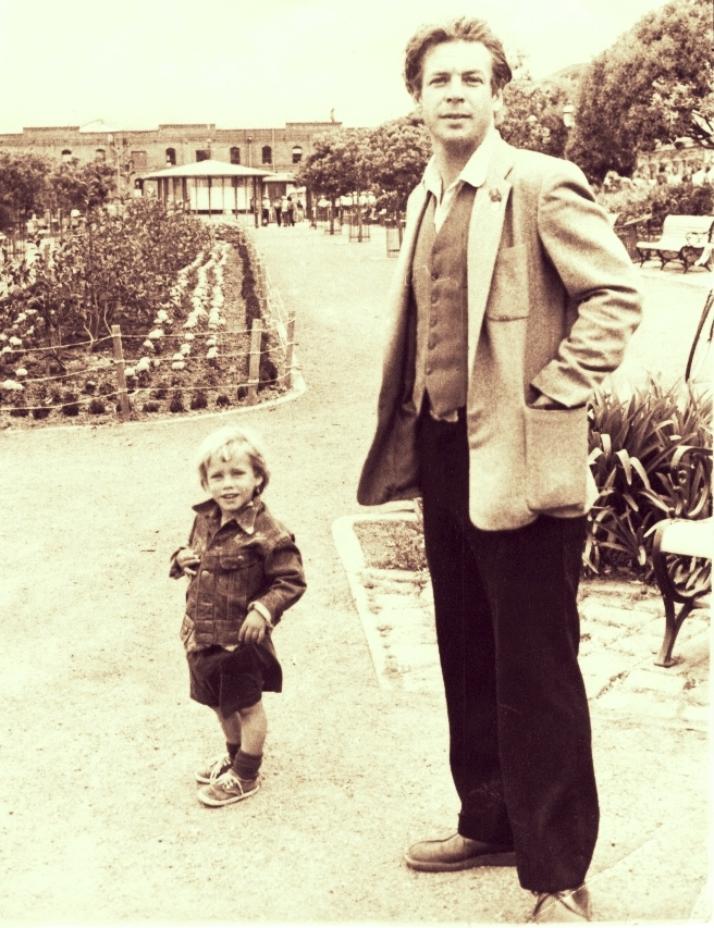 Stephen Rodefer and son Felix crica 1976