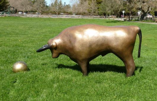 Bull and Ball - Robert Holmes sculpture