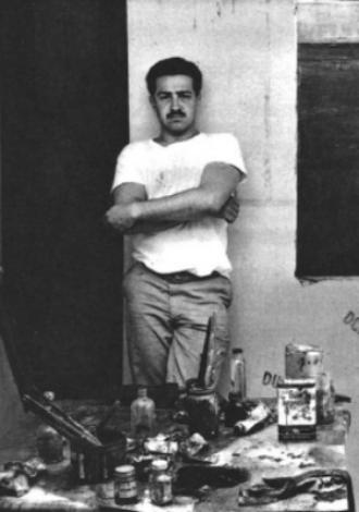 Early painting studio shot of Nathan Oliveira