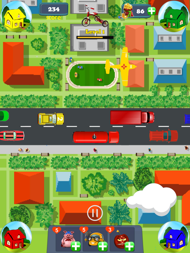 Swipe the cars, trucks, planes and UFOs to the right colored house!