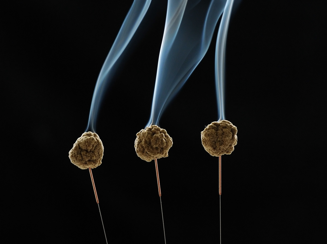 Moxibustion - Moxibustion is a term used to describe the burning of a Chinese herb called 'Ay ye'. The smoke from this herb produces a therapeutic heating effect the has been found to move the channels, remove stagnation, help digestion, impotence, diarrhea, pain, cold conditions, and increase energy (to name a few). This is used as needed in a treatment.