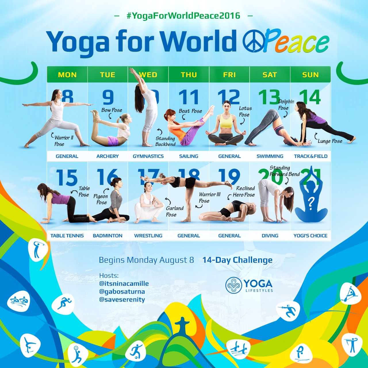 14- Day Instagram Challenge #YogaForWorldPeace2016   Role :Creator, producer, writer   Client:  Yoga Lifestyles   Objective : Increase followers by 10% by invite audience to participate in challenge, where they publish daily posts to Instagram. Each pose tied into an Olympic game during the 2016 summer Olympics to inspire world peace and unity across cultures combine interests.   Results:  more than 2,000 new hashtags and a 16% increase in followers
