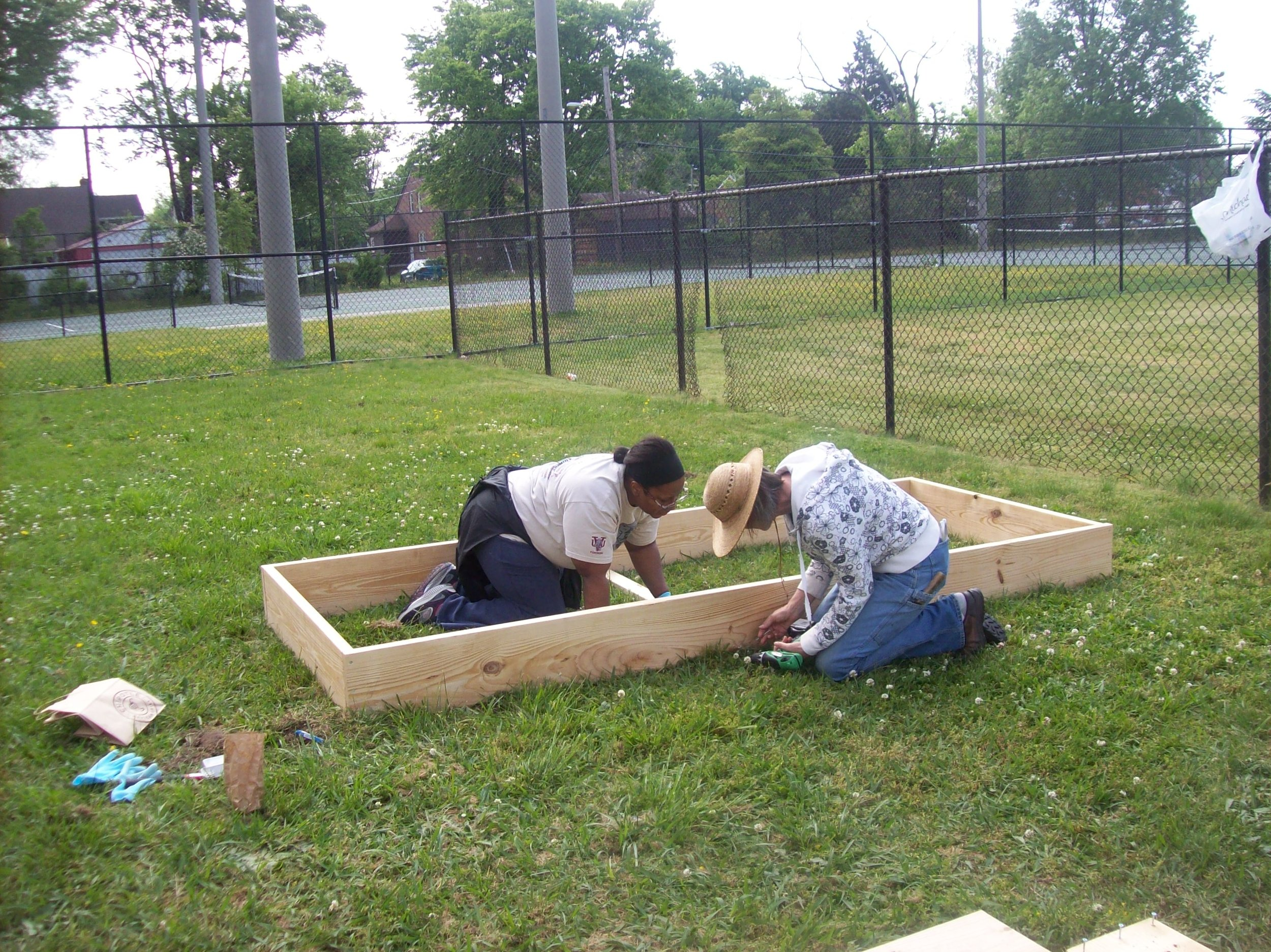 Volunteers build raised beds to launch the Hotchkiss Community Garden. Photo courtesy: Tamara Elmore
