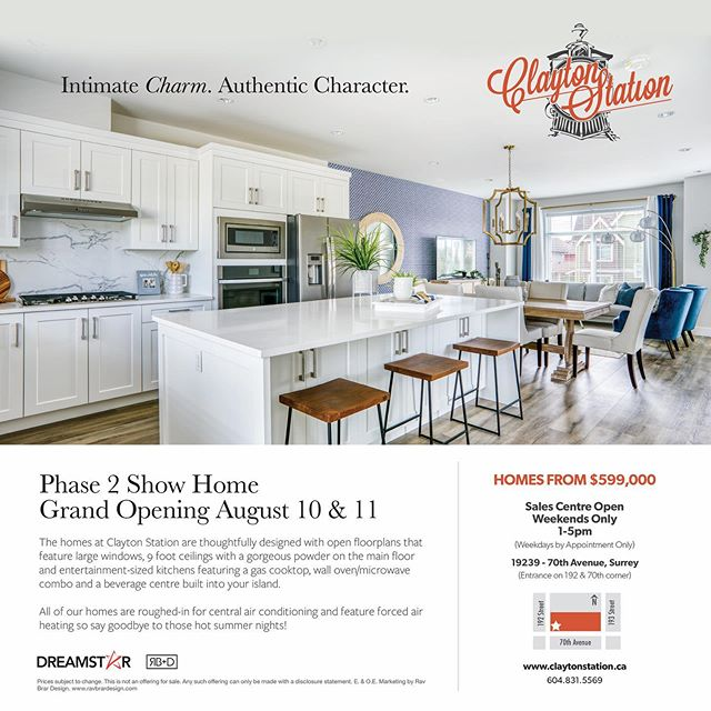 Clayton Station $599,800 starting  Please visit our website at www.claytonstation.ca for more information.Sales office is open daily 1-5 except Friday.Phase 2 is now available delivering in August 2019  19239 70th Avenue  V4N 6S8  #claytonstation #realestate #showhome #youcanlivehere #forcedairgasheating #gasstove #swarnandpar #cloverdale #clayton #moveintoday #dreamstar #fraservalley #townhome #fvreb #homelife #3bedroom #walkinpantry #parklike #airconditioning #whybuyused #luxurytownhome #doublegarage #home #community #kingsizebed
