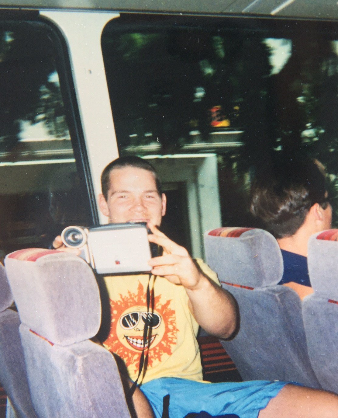 This was on the bus while in Hawaii...that's Honolulu's Finest, J. Gess sitting in front of you.