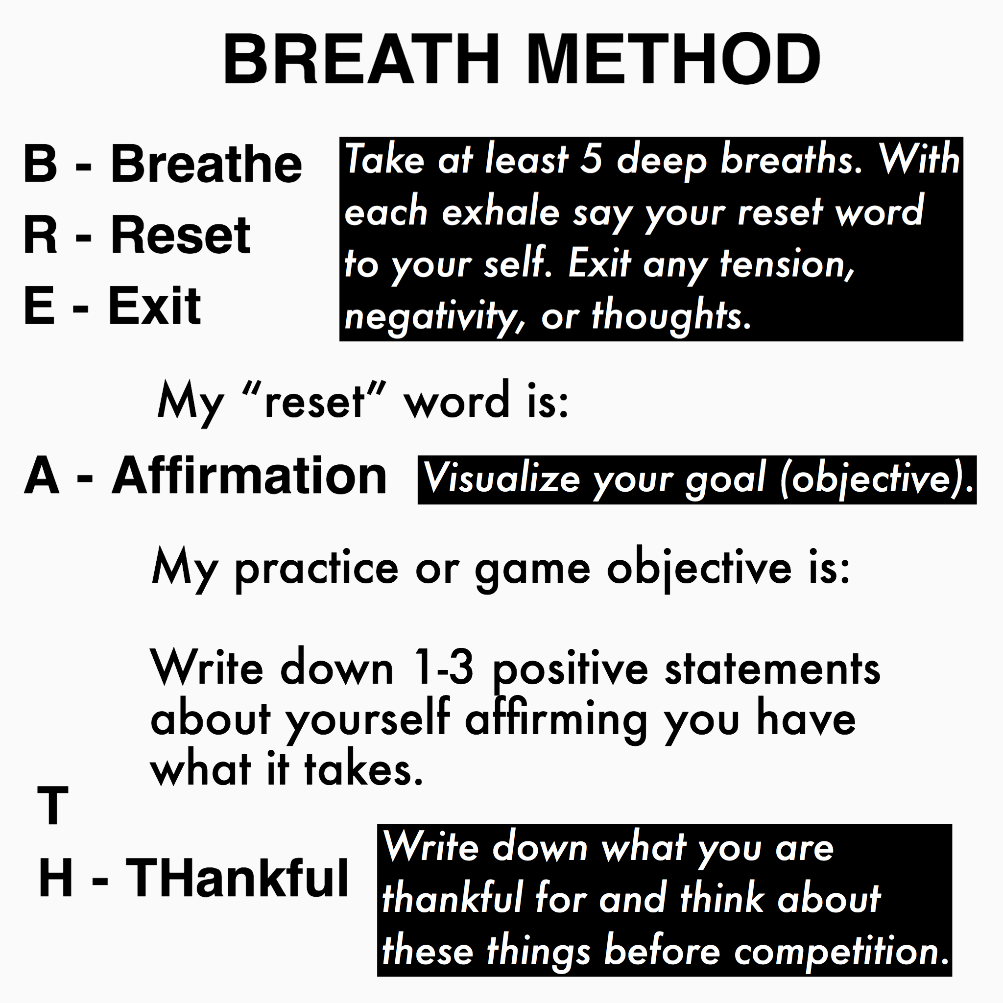 Have your athlete fill out a notecard following these prompts. They can use this as a reminder during their pregame visualization/mindfulness warmup.