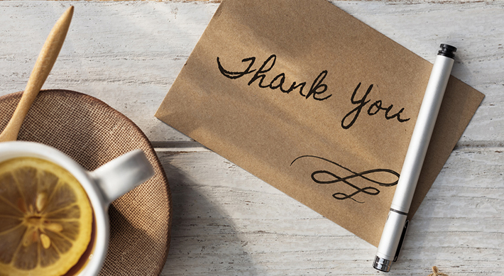 thank you card writing table