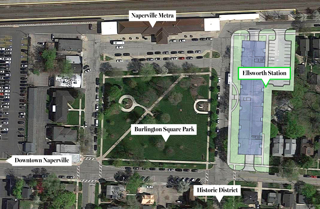 In this aerial view you can see where Ellsworth Station is in relation to Burlington Square Park, the Naperville Metra station, downtown Naperville and the Historic District.