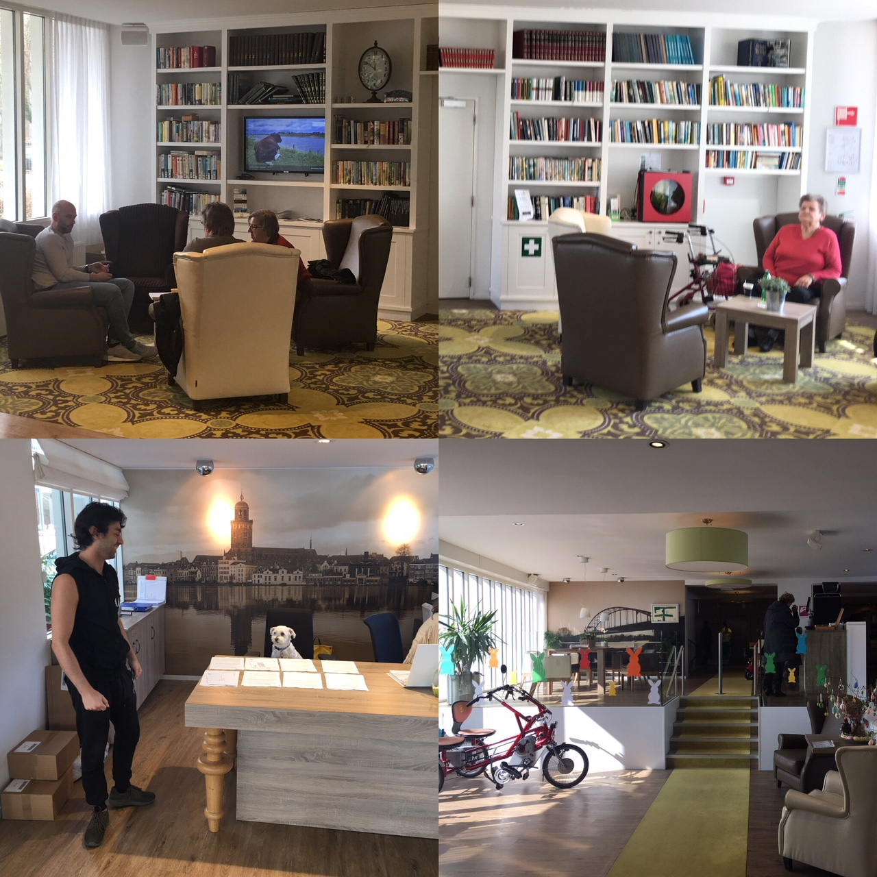 Top left: Patrick, a student, talking with several of the elderly residents. Top right, when you walk in the seating area and bookcase to the right. Bottom Left: Sores saying hello to Benji (the dog) at the front test. Bottom right, coffee machine and seating area when you first walk in.