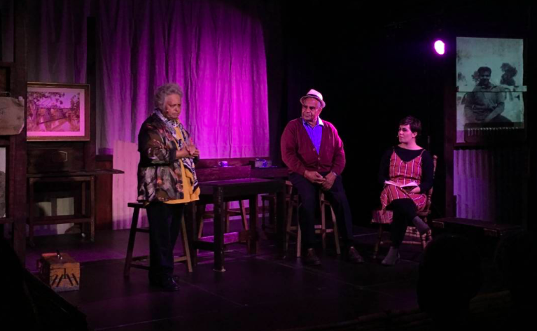 Aunty Ruth and Uncle Dick Carney with Paris Norton in A Little Piece of Heaven at the Black Box Theatre in Dubbo.  Image courtesy of the Narromine News.