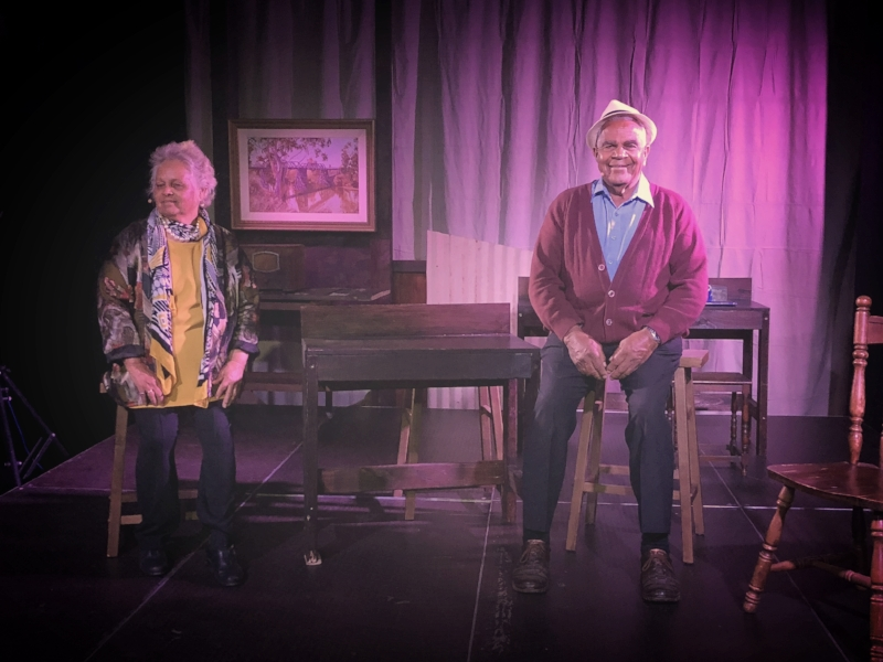 Aunty Ruth and Uncle Dick Carney on stage during the Dubbo performance of A Little Piece of Heaven.