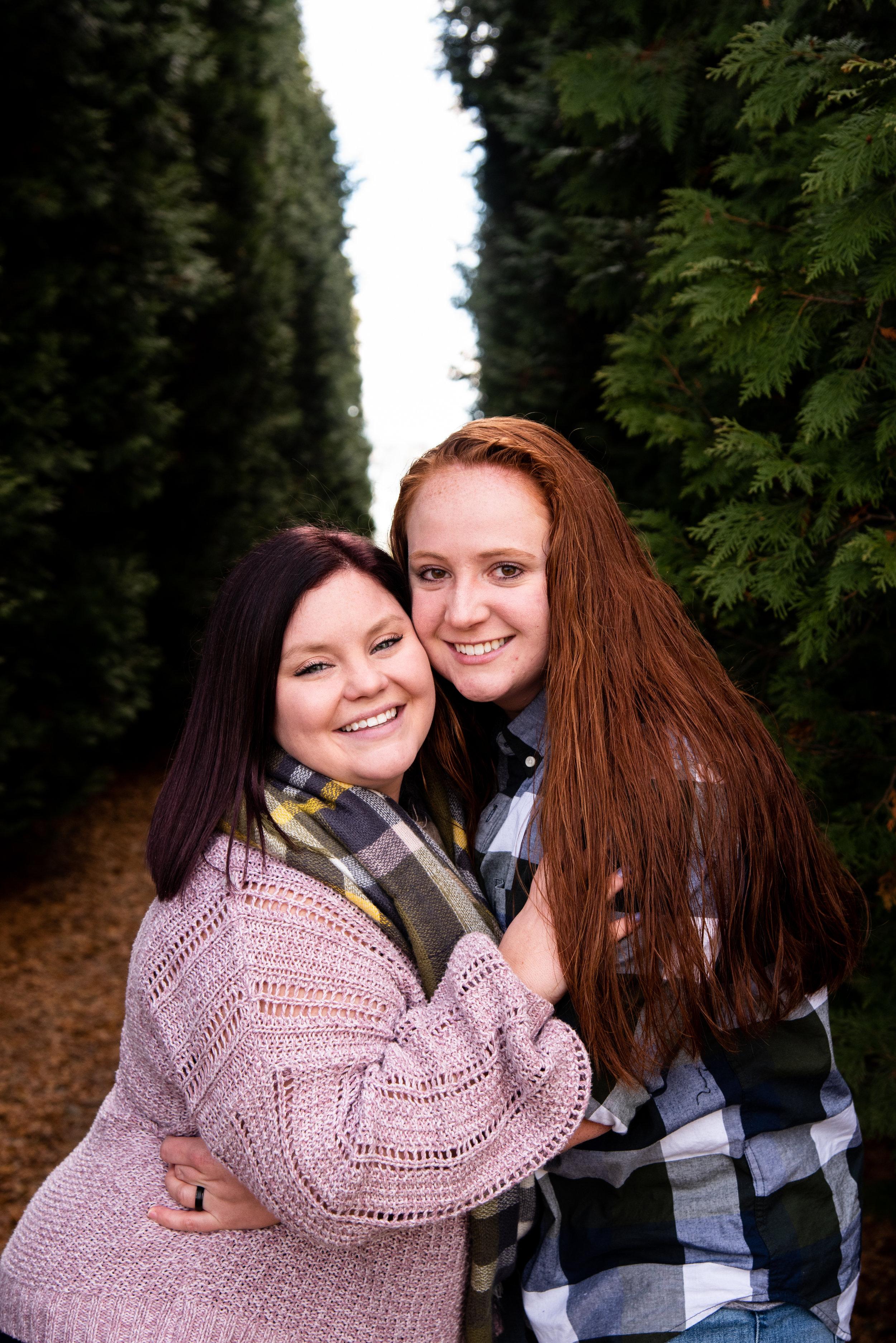 Kyla Jo Photography // Muncie Indiana Photographer // Family Photos // Whitetail Tree Farm // Two Women Photo Shoot // Winter Photo Shoot // Christmas Tree Farm Photo Session