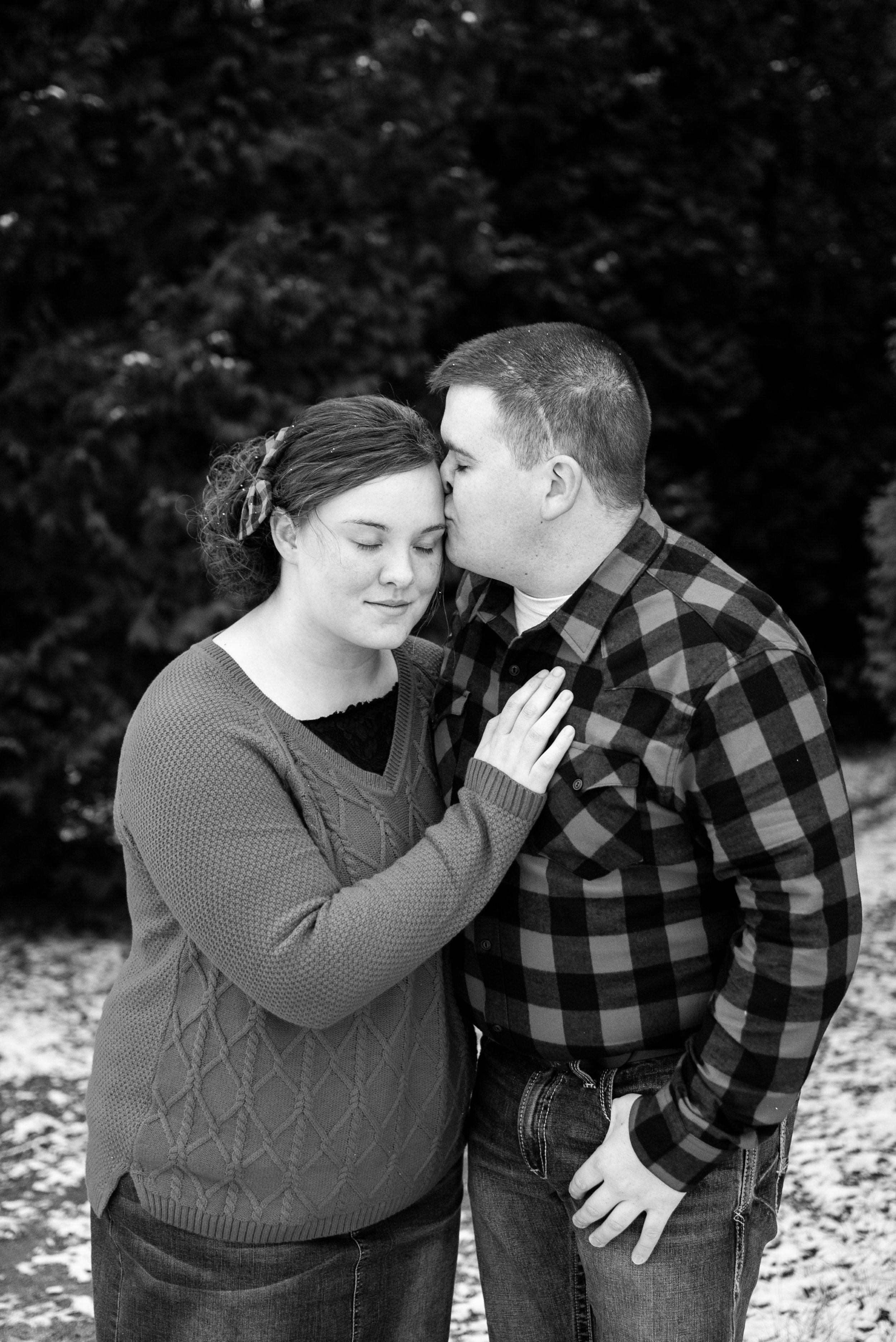 Kyla Jo Photography // Muncie, Indiana // Couple Photographer // Whitetail Tree Farm // Christmas Photos // Midwest Photographer // Indianapolis Photographer // Black and White Romantic Photos