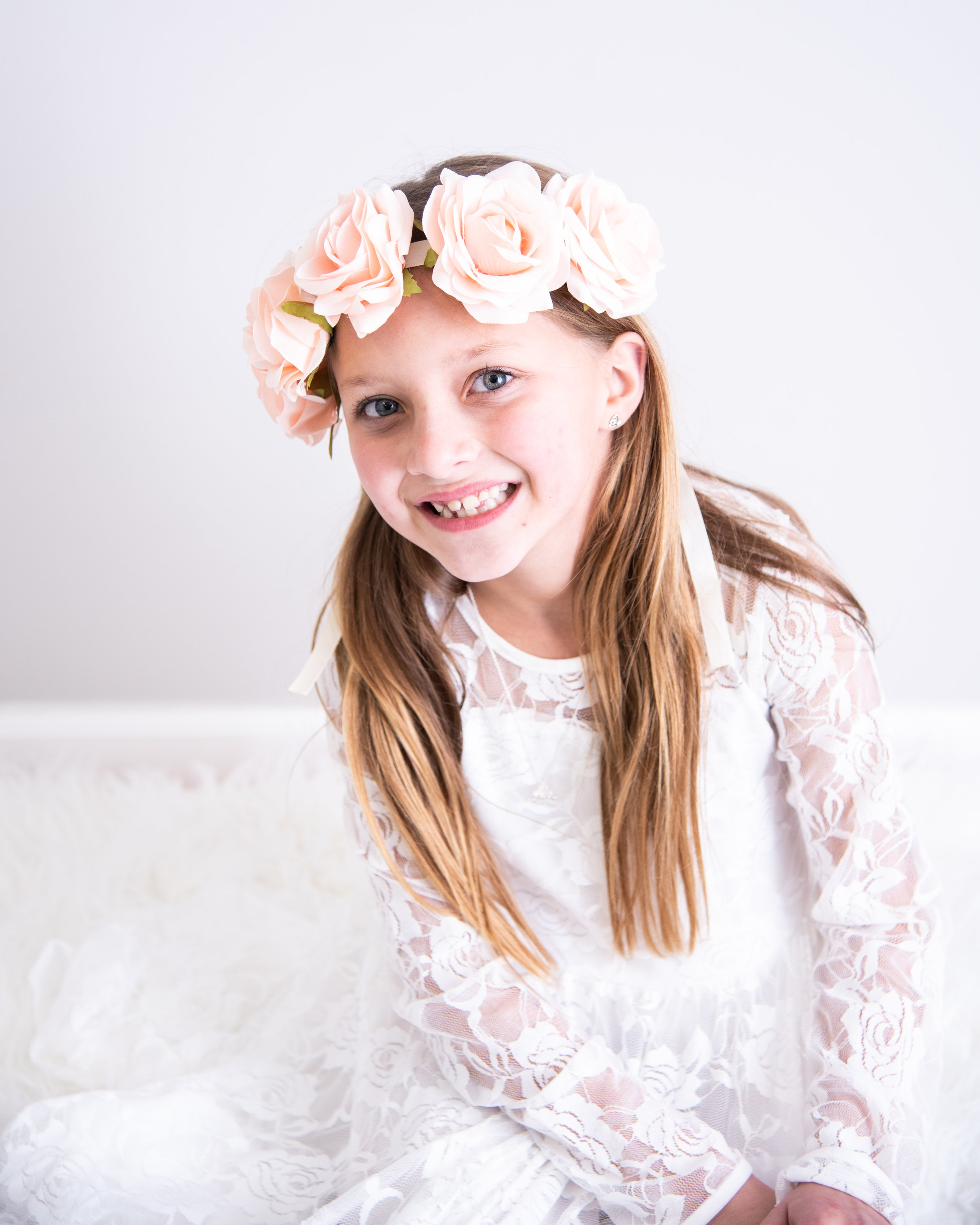 Kyla Jo Photography // Muncie, Indiana Photographer // Indiana Photographer // Midwest Photographer // kids photographer // studio photographer // children photographer // portrait photographer // studio photographer in delaware county // floral headband // boho photographer