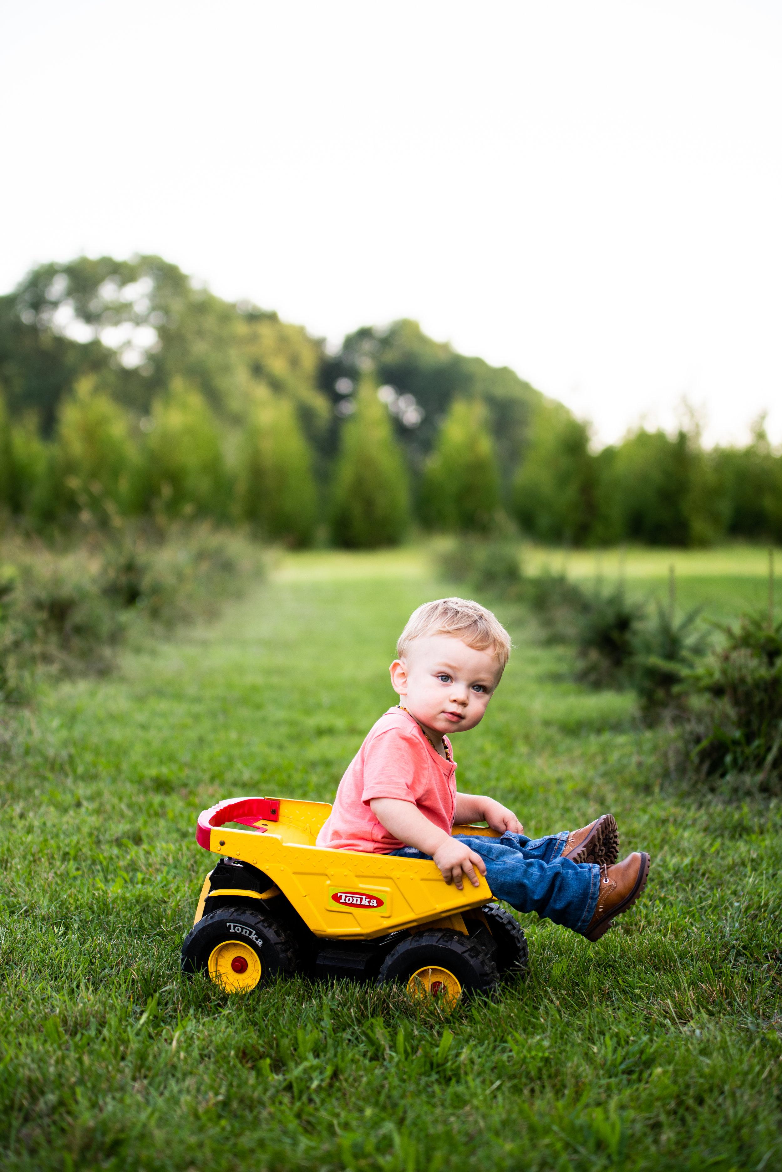 Kyla Jo Photography Muncie Indiana Kids Photography Tonka Truck Prop // Tree Farm