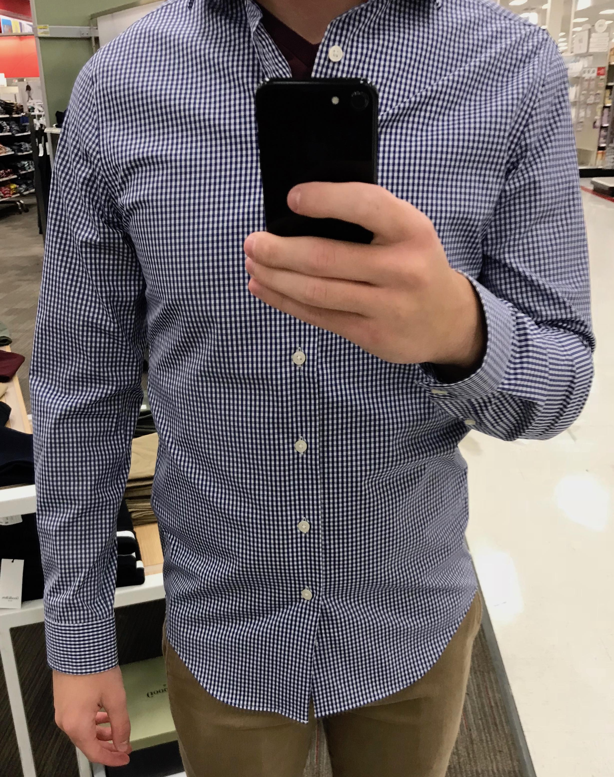 Slim Blue Gingham Dress Shirt - $29.99