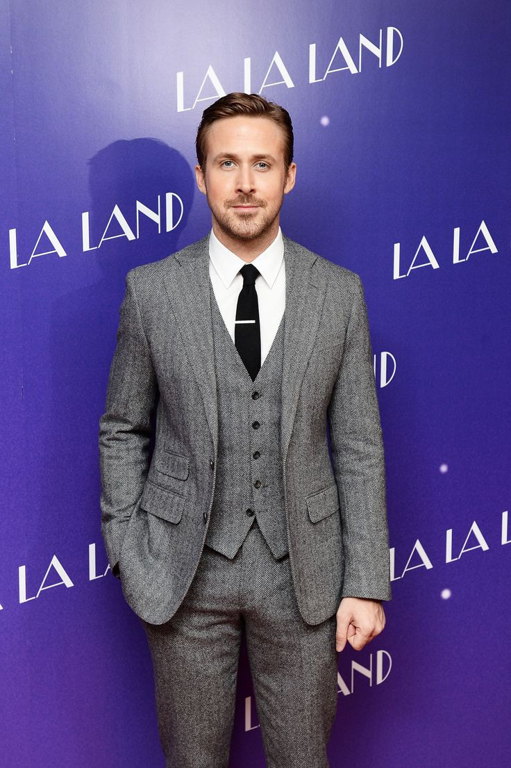 Ryan Gosling wearing an awesome 3-piece notch lapel suit