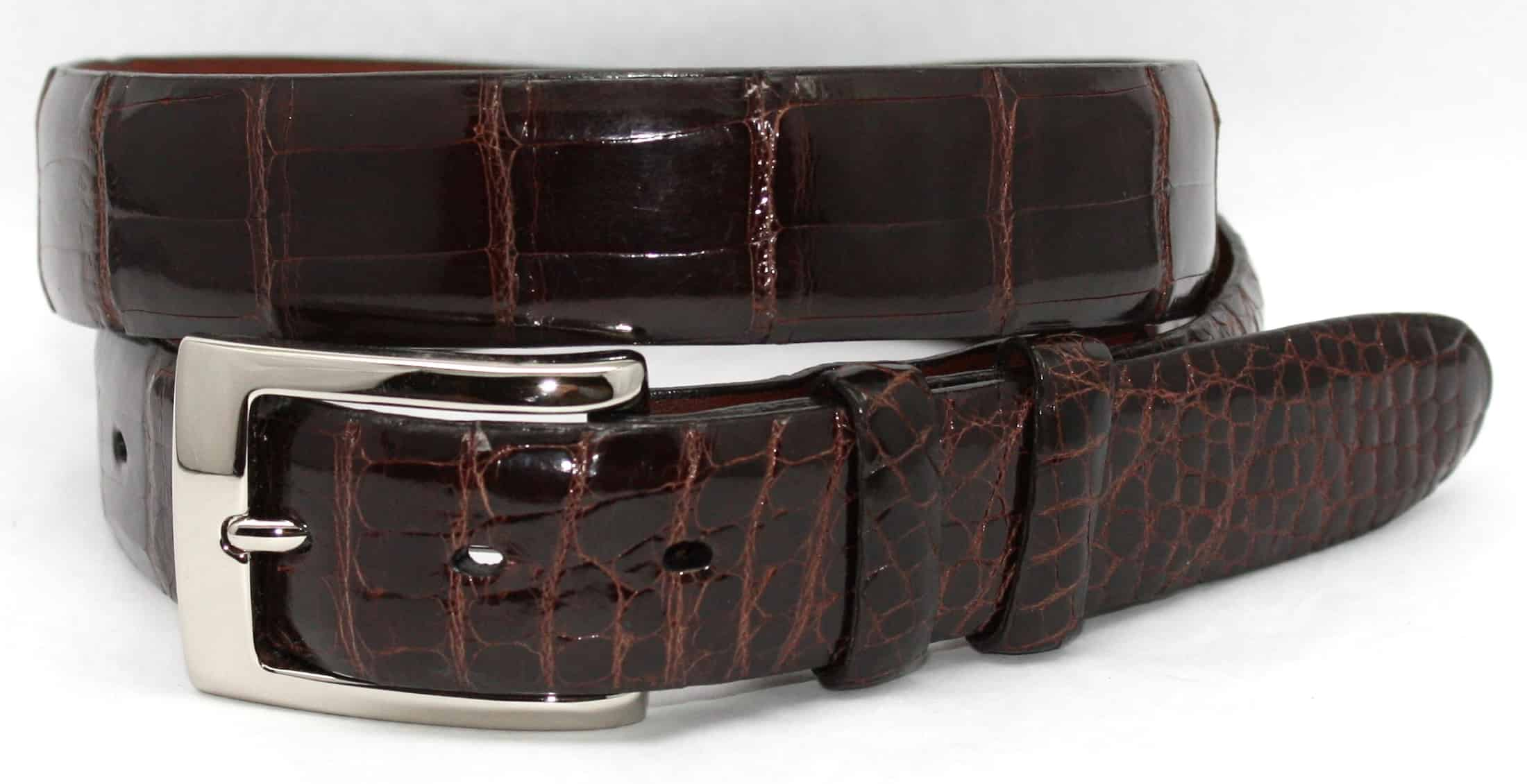 An example of an alligator leather belt