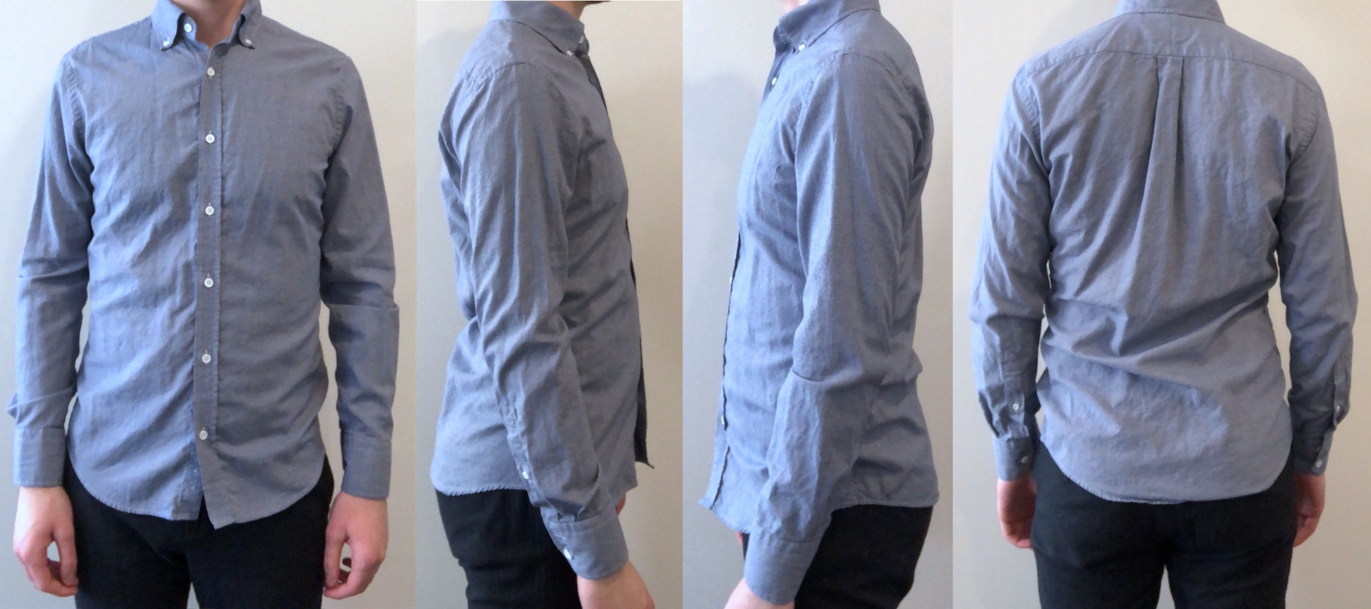 Navy houndstooth casual shirt fit