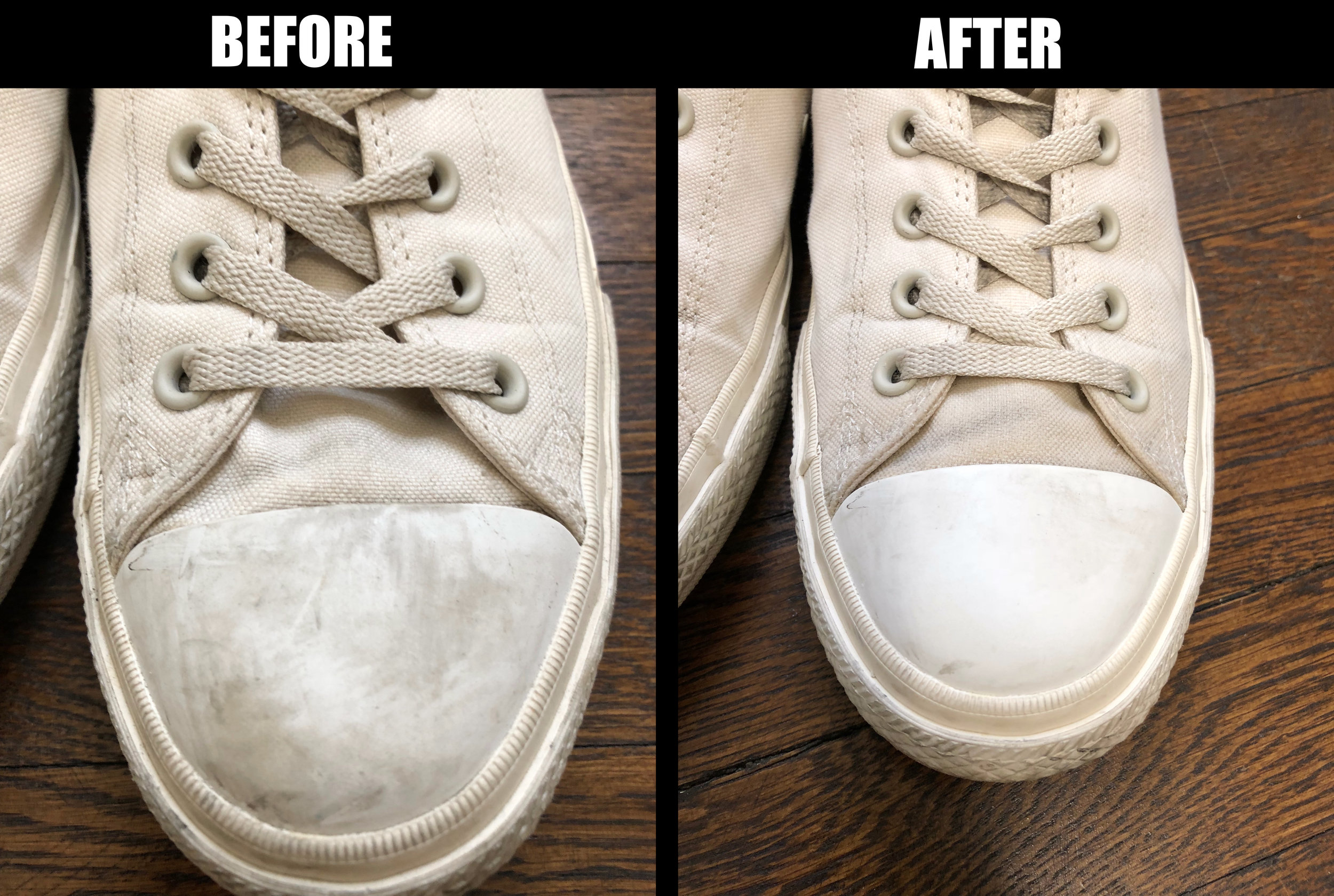 Before and after the Jason Markk shoe cleaning