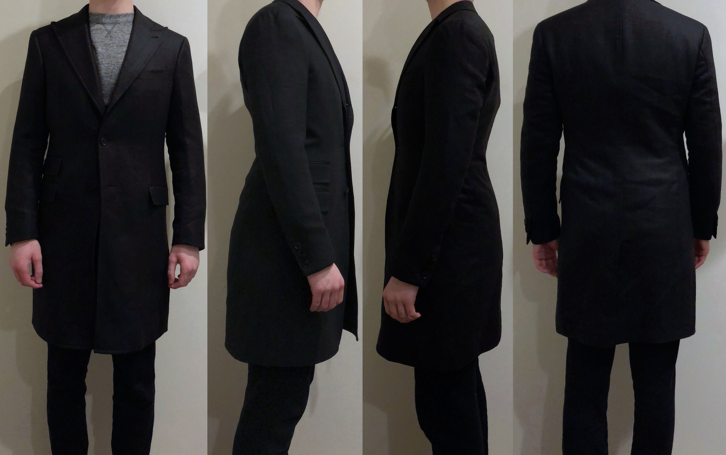 Final fitting pictures, with suit jacket (and sweatshirt, sorry) beneath