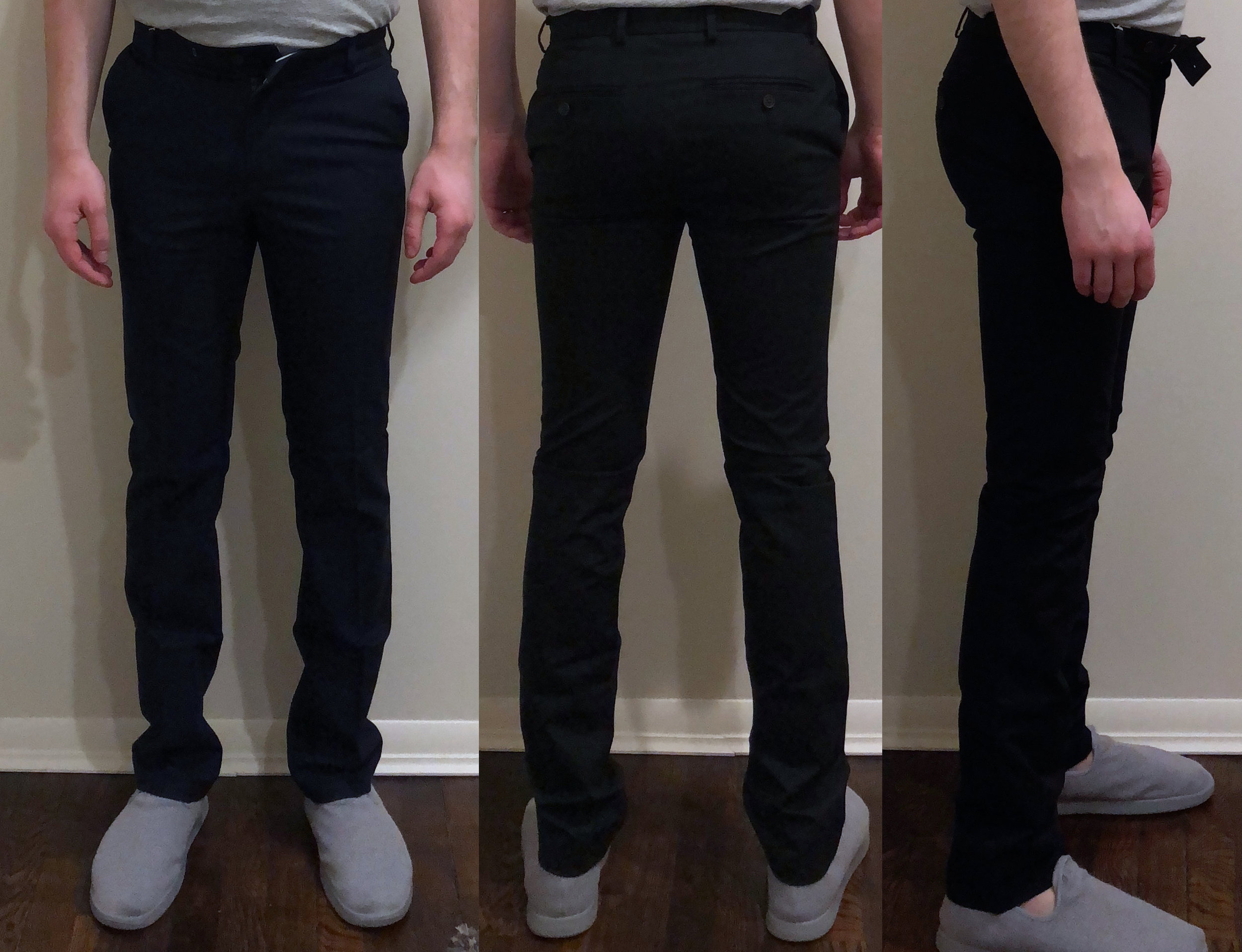 Chino fit pic (slippers by Allbirds)