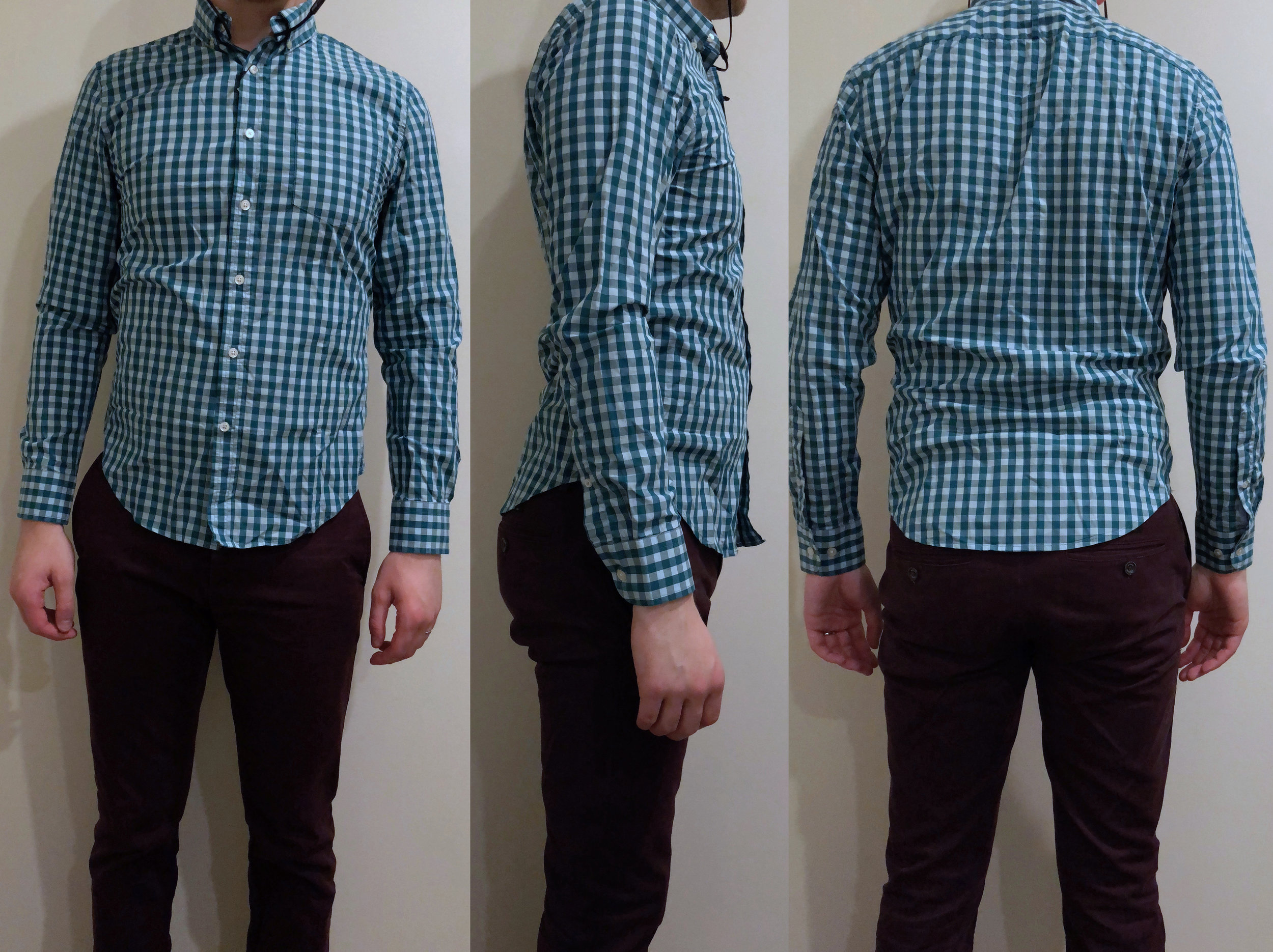 Gingham shirt — Way too small, short, and tight