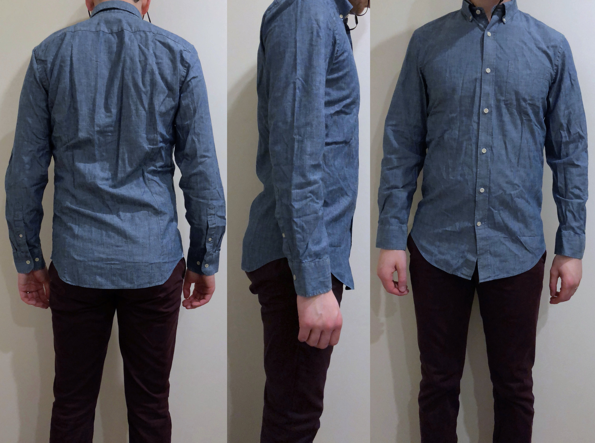 Chambray shirt — Comically long and much roomier throughout