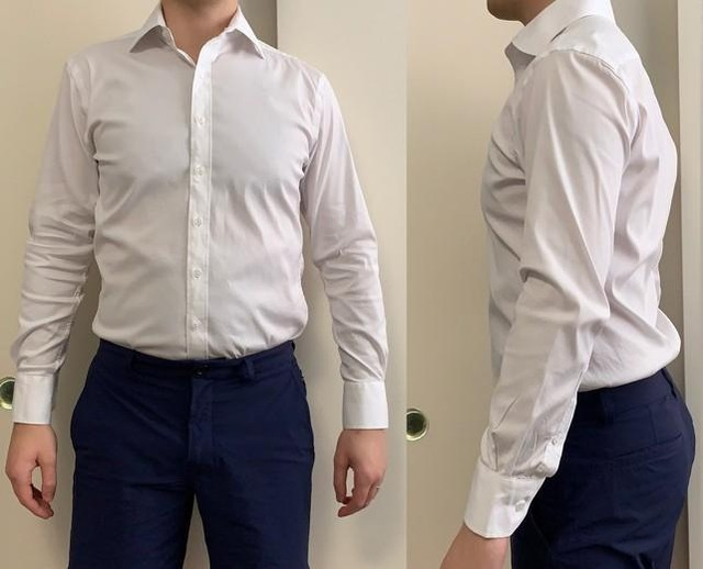 Find out why this custom made, stretchy white dress shirt is one of our favorites! Read our full review of J. Hilburn custom men's dress shirts at ThePeakLapel.com